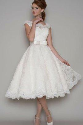 Klassisches Quadrat Ausschnitt Kurze Ärmeln Schlichtes Legeres Brautkleid