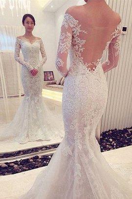 Meerjungfrau Stil Langärmeliges Normale Taille Sweep Zug Brautkleid mit Bordüre