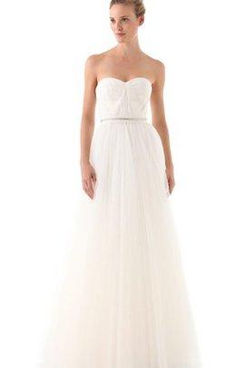 Reißverschluss Ärmellos Schlichtes Anständiges Brautkleid mit Offenen Rücken