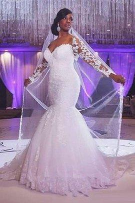 Langärmeliges Tüll Meerjungfrau Stil Herz-Ausschnitt Brautkleid mit Applikation