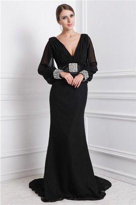 Sweep Zug Meerjungfrau Stil Perlenbesetztes Chiffon Normale Taille Abendkleid
