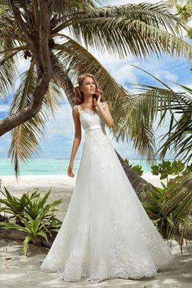 Ärmellos Romantisches Bodenlanges Brautkleid mit Rücken Schnürung mit Schleife