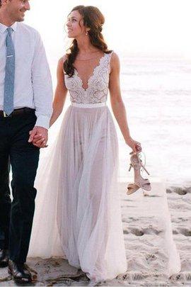 A-Line Ärmellos Bodenlanges Brautkleid mit Schaufel Ausschnitt aus Tüll