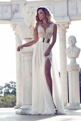 V-Ausschnitt kurze Ärmeln A Linie Bodenlanges Abendkleid mit Natürlicher Taille