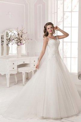 A-Line Bateau Ausschnitt Ärmellos Brautkleid aus Tüll mit Applike