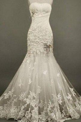 Tüll Ärmelloses Luxus Brautkleid mit Blume mit Applike