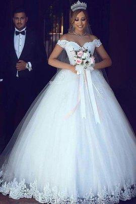 Hübsch Duchesse-Linie Tüll Ärmellos Normale Taille Bodenlanges Brautkleid mit Bordüre