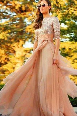 Juwel Ausschnitt Chiffon Elegantes Stilvolles Abendkleid ohne Ärmeln