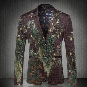 Gentleman Print Slim Fit Blazer Blazer Masculino Fashion