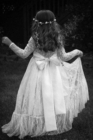 Prinzessin Juwel Ausschnitt Bodenlanges Blumenmädchenkleid mit Bordüre mit Blume cwQsK
