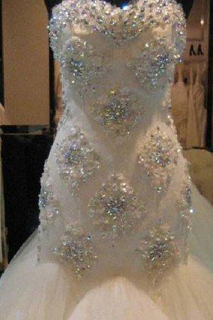 Ärmelloses Meerjungfrau Normale Taille Brautkleid mit Herz-Ausschnitt aus Tüll 0DlVgh