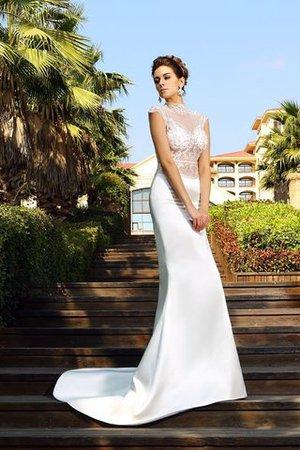 Hoher Kragen Normale Taille Anständiges Brautkleid aus Satin mit Perlen ORcO9MR