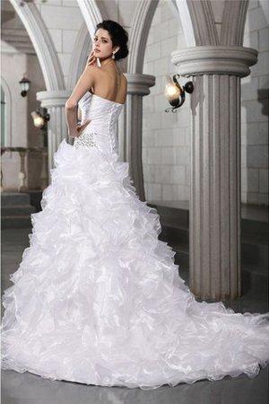 Prinzessin Drapiertes Kapelle Schleppe A-Line Brautkleid mit Herz-Ausschnitt qlSG6