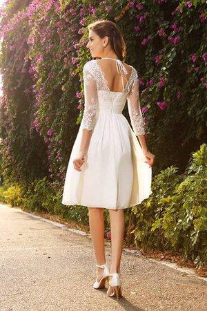 V-Ausschnitt A-Linie Chiffon Dreiviertel Länge Ärmeln Kurzes Brautkleid uQPiCO