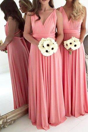 Ärmellos V-Ausschnitt Prinzessin Bodenlanges Brautjungfernkleid aus Chiffon FawjR3
