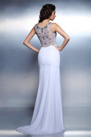 Bateau Meerjungfrau Perlenbesetztes Bodenlanges Abendkleid aus Chiffon T8WI6Azv