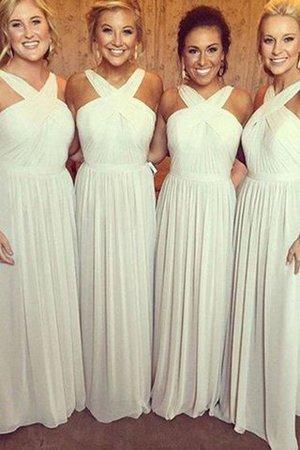 Normale Taille Prinzessin Ärmelloses Brautjungfernkleid aus Chiffon mit Nackenband NgneUNR
