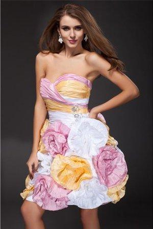 Normale Taille Herz-Ausschnitt Prinzessin Taft Cocktailkleid mit Blume pxuUA