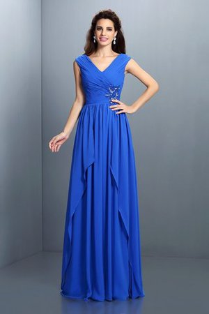 A-Linie Perlenbesetztes Reißverschluss Prinzessin Abendkleid mit V-Ausschnitt eHOyED