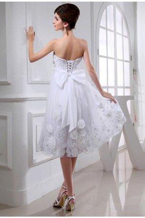 Organza Trägerloser Ausschnitt Prinzessin Knielanges Brautkleid mit Perlen JbIGBR0M8n