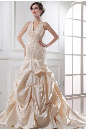 Satin Ärmelloses Perlenbesetztes Brautkleid mit Rücken Schnürung mit Applike QUUaVEa