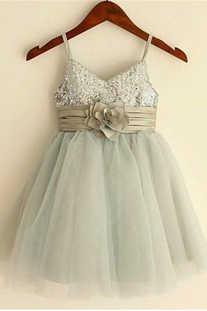 Empire Taille Prinzessin Ärmelloses Blumenmädchenkleid mit Blume aus Paillette ByjouG9N6S