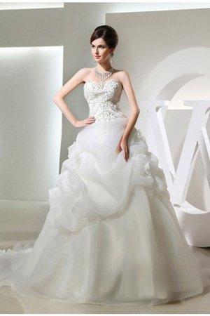 Empire Taille Perlenbesetztes Ärmelloses Brautkleid mit Reißverschluss mit Blume sVLHRw