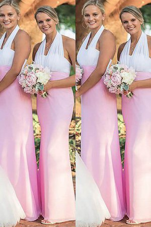 Ärmellos Nackenband Natürliche Taile Enganliegendes Bodenlanges Brautjungfernkleid x7IZSwVFaC