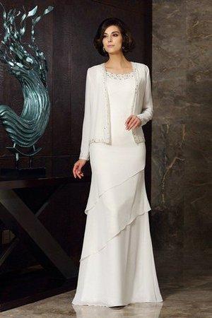 Empire Taille Enges Bodenlanges Brautmutterkleid mit Schaufel Ausschnitt mit Perlen 2ain1hG