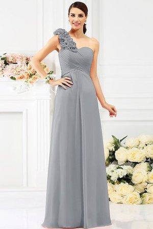 A-Linie Ärmelloses Anständiges Brautjungfernkleid mit Blume aus Chiffon a2BoNq5b