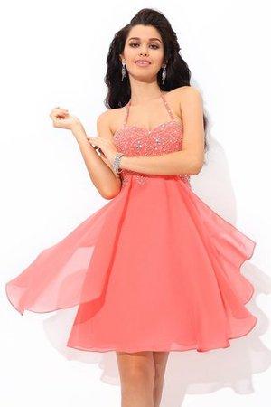 Chiffon Prinzessin Normale Taille Ärmelloses Cocktailkleid mit Reißverschluss YH7DiqL