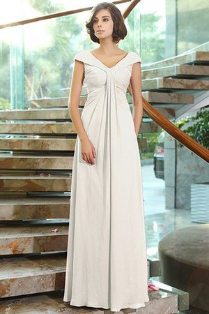V-Ausschnitt Reißverschluss Ärmelloses Bodenlanges Anständiges Brautjungfernkleid isbOo