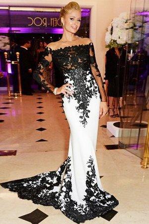 Sweep Train Meerjungfrau Stil Normale Taille Reißverschluss Abendkleid mit Applike A4Ug8pKsN6