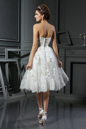 Prinzessin Empire Taille Gerüschtes Mini Brautkleid aus Satin 04Tcqx