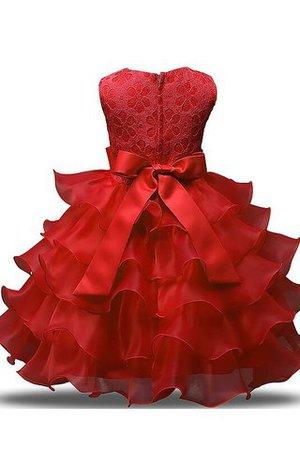 Duchesse-Linie Organza Bodenlanges Blumenmädchenkleid mit Rüschen mit Blume zqlSq8