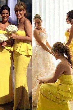 Normale Taille Herz-Ausschnitt Satin Ärmelloses Bodenlanges Brautjungfernkleid Kn9TKRd