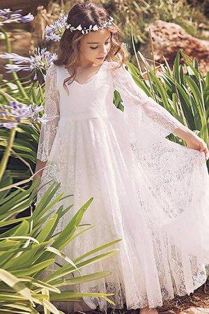 V-Ausschnitt Prinzessin Langärmeliges Bodenlanges Blumenmädchenkleid mit Blume iGkabkJ2