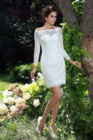 Langärmeliges Etui Reißverschluss Schaufel-Ausschnitt Mini Brautkleid Y0d1ogb