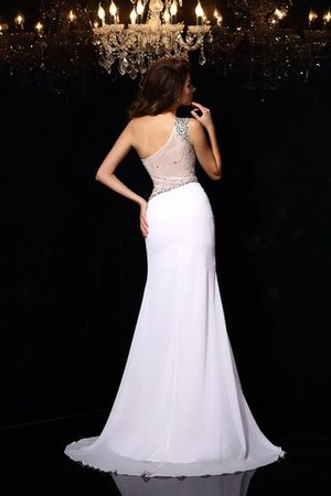 Enges Chiffon Sittsames Abendkleid mit einem Schulter mit Perlen vX1MruU5gf