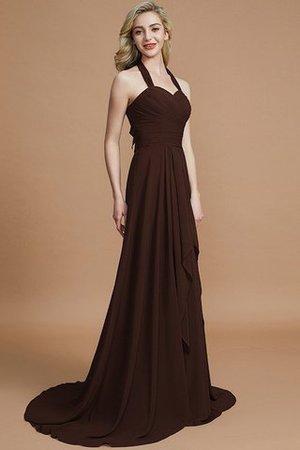 Ärmelloses A-Linie Chiffon Brautjungfernkleid mit Nackenband mit Sweep zug 3yAHmR