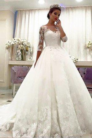 Normale Taille Duchesse-Linie Tüll Brautkleid mit Gericht Schleppe mit Bordüre - Bild 1