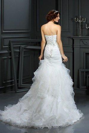 Herz-Ausschnitt Meerjungfrau Stil Ärmelloses Sittsames Brautkleid aus Organza Uz6jCFI8N
