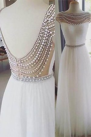 Ärmelloses Perlenbesetztes Bateau Ausschnitt Prinzessin Abendkleid aus Tüll RBI9bKDK