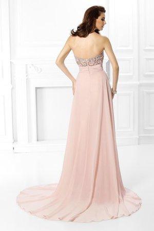 A Linie Natürliche Taile Perlenbesetztes Herz-Ausschnitt Abendkleid mit Sweep Zug FtCSawS