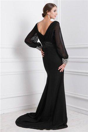 Sweep Zug Meerjungfrau Stil Perlenbesetztes Chiffon Normale Taille Abendkleid tQc2TQ3