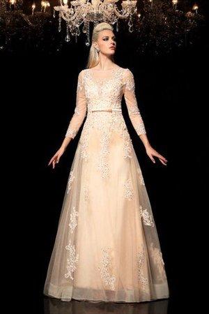 A-Line Prinzessin Langärmeliges Bodenlanges Brautkleid mit Applikation WK4NrC
