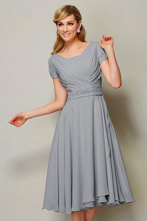 Kurze Ärmeln Enges Reißverschluss Brautjungfernkleid aus Chiffon mit Rüschen zhl97fjs