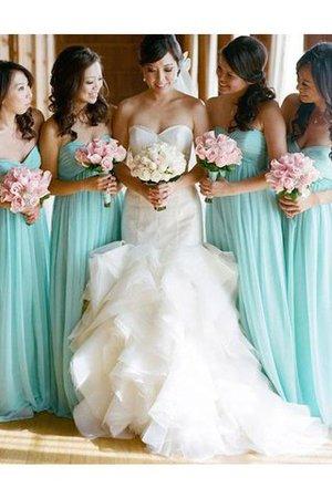 A-Linie Ärmellos Bodenlanges Brautjungfernkleid aus Chiffon mit Natürlicher Taille B8YzSdi
