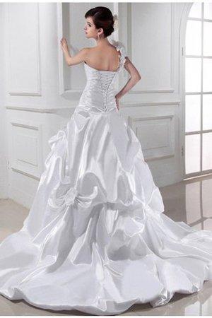Herz-Ausschnitt A-Line Plissiertes Brautkleid mit Kapelle Schleppe mit Drapierung MCuJJYLlk