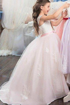 Tüll Duchesse-Linie Bodenlanges Blumenmädchenkleid mit Blume mit Herz-Ausschnitt vHkm3